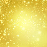 Abstract Merry Christmas card - Golden Christmas lights  and sno Royalty Free Stock Image
