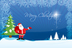 Abstract Merry Christmas Card With Santa Stock Images