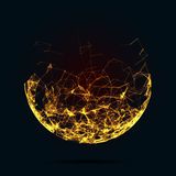 Abstract mesh spheres. Futuristic technology style. Elegant background for business presentations. Flying debris. Stock Photo