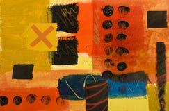 Abstract met de hand geschilderd geometrisch patroon Stock Foto's