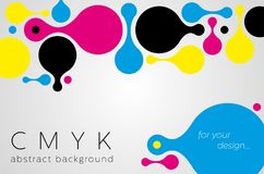 Abstract metaball background from CMYK colors. On gray background with place for text - print concept. Vector illustration Royalty Free Stock Photos