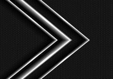 Abstract metal arrow on dark gray hexagon mesh design modern luxury futuristic background vector. Stock Photo