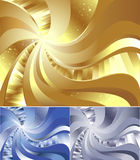 Abstract metal background. Abstract gold background with sweeping lines, decorated with shining faces Royalty Free Stock Image