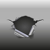 Abstract metal background with hole and metal grid inside. Vector illustration Royalty Free Stock Image