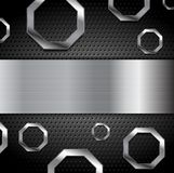 Abstract metal background with octagons Stock Images