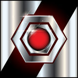 Abstract metal background red glossy button Stock Photo