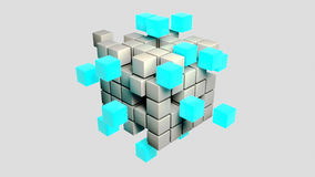 Abstract metal blue cubes 3d illustration Royalty Free Stock Photos