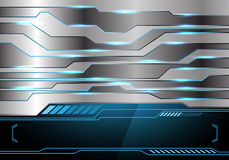 Abstract metal blue light technology black monitor for text place design modern futuristic background vector. Abstract metal blue light technology black monitor Royalty Free Stock Images