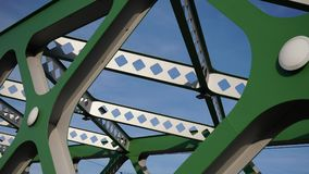Abstract metal construction. Details of the metallic green bridge in Bratislava, Slovakia. Industrial construction. Royalty Free Stock Photography