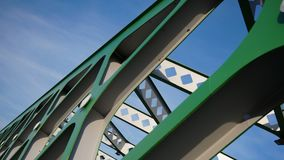 Abstract metal construction. Details of the metallic green bridge in Bratislava, Slovakia. Industrial construction. Royalty Free Stock Images