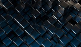 Abstract Metal Cubes Background. With Blue Light 3D Rendering Royalty Free Stock Photography