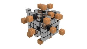 Abstract metal cubes 3d illustration. Nice abstract metal cubes 3d illustration Stock Image