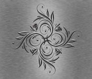 Abstract metal flower. Silver metal plate with abstract flower Royalty Free Stock Photography