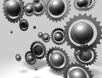 Abstract metal gears and ball background Stock Photo