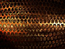 Abstract metal grid made of copper. Stock Photography