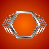 Abstract metal hexagon and arrows shape Stock Image