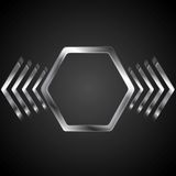 Abstract metal logo design with hexagon and arrows. Vector background Stock Photo