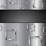 Abstract metal perforated background with squares Stock Image