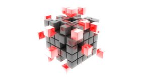 Abstract metal red cubes 3d illustration. Nice abstract metal red cubes 3d illustration Royalty Free Stock Photography
