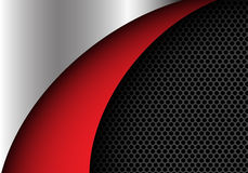 Abstract metal red and dark gray circle mesh curve shape design modern background vector. Illustration Royalty Free Stock Images