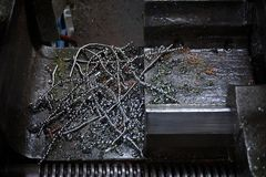 Abstract of metal scrap from the milling machine Stock Photos