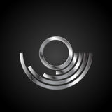 Abstract metal silver branding logo background. Vector emblem corporate design Stock Photos