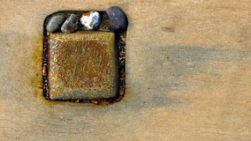 Abstract metal stones and wood Royalty Free Stock Photo