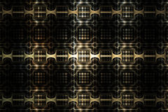 Abstract metal texture with fantasy geometric ornament on black background. Stock Image