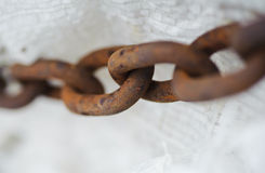 Abstract metal thick chain. Old and rusty. slavery metaphor. Horizontal photo Stock Images