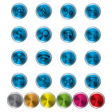 Abstract metal web icon set. Abstract metal blue web icon set with 6 more color samples Royalty Free Stock Photo