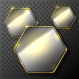 Abstract metallic background. With set of hexagons, illustration Stock Illustration