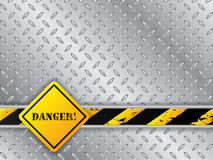 Abstract metallic background with traffic sign Stock Photo