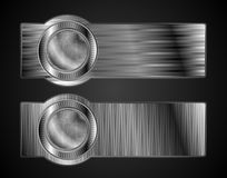 Abstract metallic banners with hi-tech style. Abstract metallic banners. Technology style. Vector background eps 10 Royalty Free Stock Photos