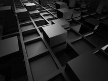 Abstract Metallic Black Cube Blocks Background. 3d Render Illustration stock illustration