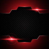 Abstract metallic black red frame on carbon kevlar texture pattern tech sports innovation concept background Stock Photography