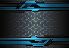 Abstract metallic blue black futuristic polygon line on hexagon mesh pattern design modern technology background vector. Illustration stock illustration