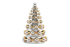 Abstract metallic Christmas Tree from bearings, 3D rendering Royalty Free Stock Photo