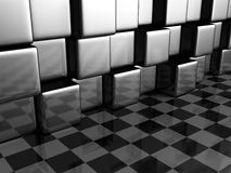 Abstract Metallic Cubes And Checker Background Wall. 3d Render Illustration royalty free illustration