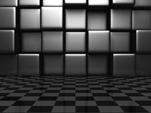 Abstract Metallic Cubes And Checker Background Wall. 3d Render Illustration Stock Images