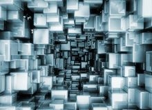 Abstract metallic 3d cubes. Glossy boxes background Royalty Free Stock Image