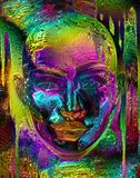 Abstract metallic face. Metallic Purple, yellow, gold and rust abstract image of womans face. Her undeniably female, facial features are contrasted by her bald Royalty Free Stock Image
