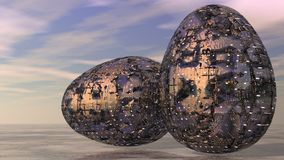 Abstract Metallic Futuristic Easter Eggs Royalty Free Stock Photo