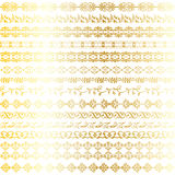 Abstract metallic gold ornate borders. Abstract metallic gold ornate border patterns royalty free illustration