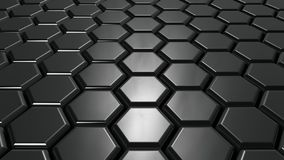Abstract metallic hexagons background. 3d render illustration Royalty Free Stock Photography