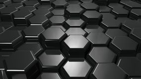 Abstract metallic hexagons background. 3d render illustration Royalty Free Stock Images