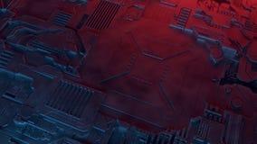 Abstract metallic pattern. Futuristic techno background illuminated by colored lights. Digital 3d illustration royalty free illustration