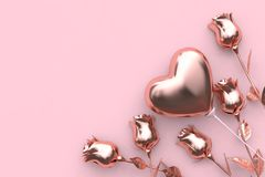 Abstract metallic pink background rose balloon heart valentine concept 3d render royalty free illustration