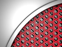 Abstract metallic red futuristic background. 3d render illustration Stock Photography