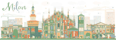 Abstract Milan Skyline with Color Landmarks. Vector Illustration. Business Travel and Tourism Concept with Historic Buildings. Image for Presentation Banner Stock Photography