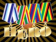 Abstract military awards. Abstract vector military awards with hero word Stock Photos